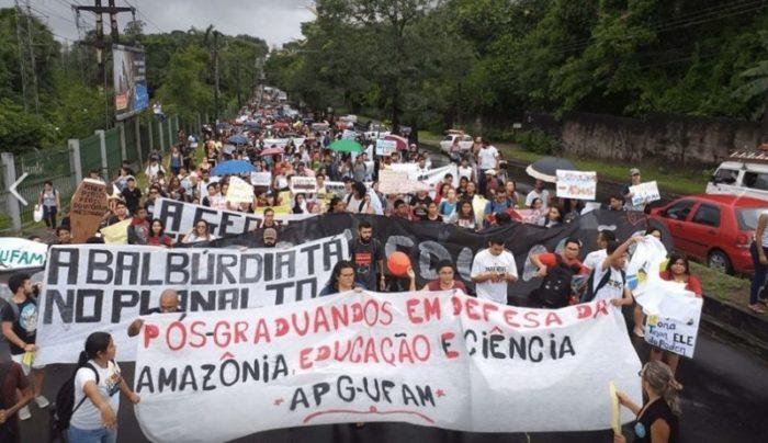 universidades Protesto Ufam e Ifam. Foto: Reprodução/Adua