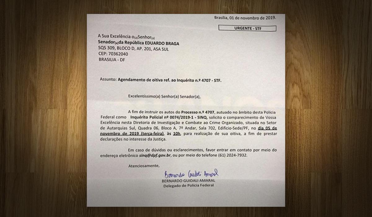 Eduardo Braga posta chamado que recebeu da PF para depor