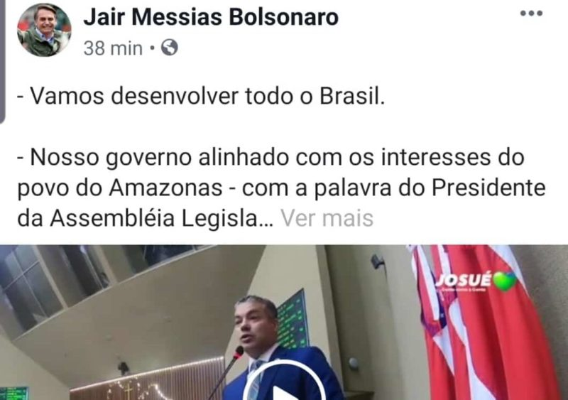 Bolsonaro compartilha Josué sobre cana-de-açúcar na Amazônia