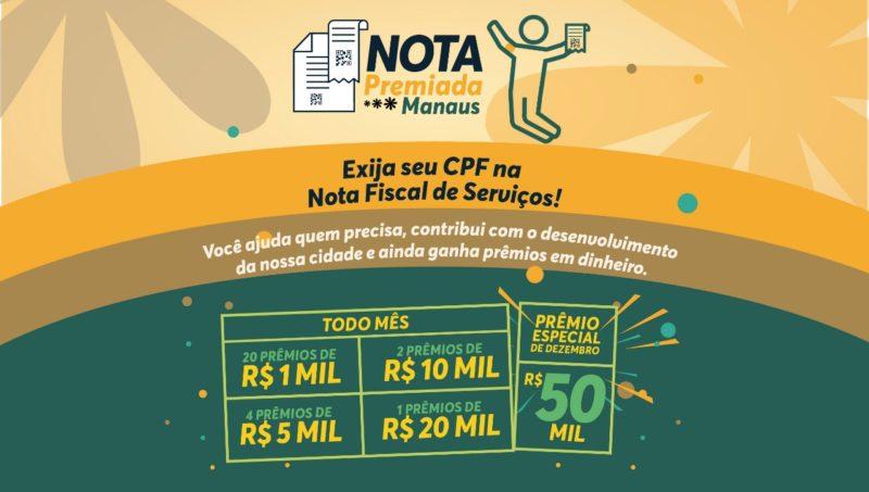 'CPF na nota' sobre prestação de serviços dá direito a prêmios em Manaus