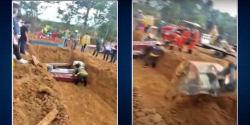 Após valas comuns, Manaus passa a enterros com caixões em pilhas triplas