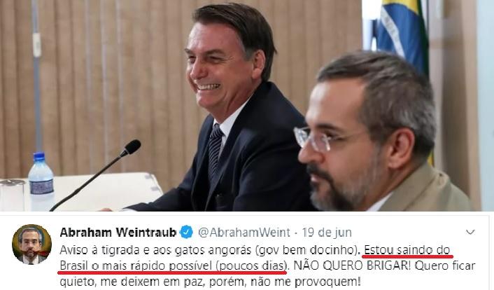 Bolsonaro demite Weintraub após chegada aos Estados Unidos
