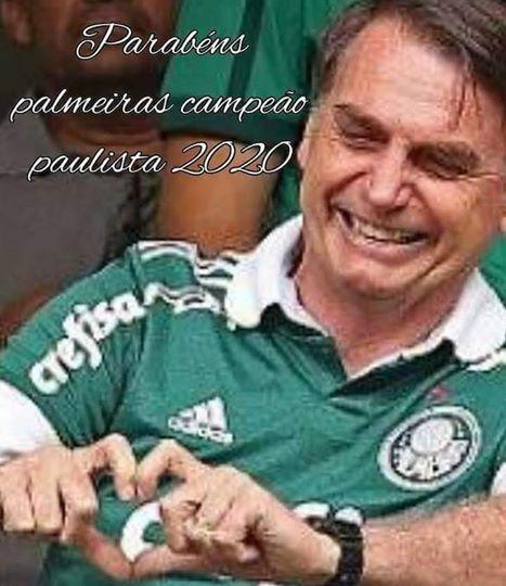 Bolsonaro esquece 100 mil mortos pela covid, mas lembra do Palmeiras
