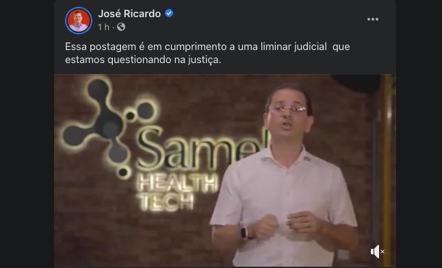 José Ricardo cumpre obrigação de publicar no Face resposta de Beto Nicolau