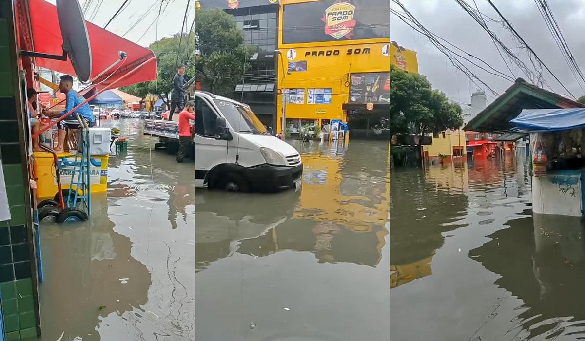 Forte chuva deixa vários pontos de alagamento no centro de Manaus